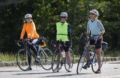 Three Rider Enjoying the View Blue Ridge Bike Tour