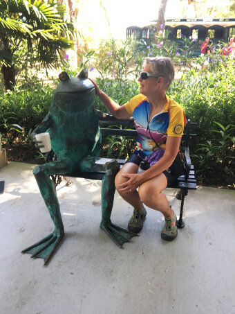 Cyclist posing with a frog South Carolina Low Country Bike Tour