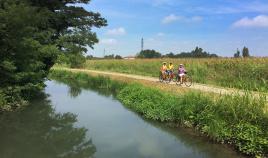 Bike path long stream Italy Bike and Barge Bike Tour