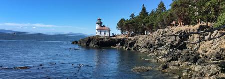 coasting view and light house Washington San Juan Islands Bike Tour