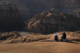 Women contemplate life near St. George, Utah