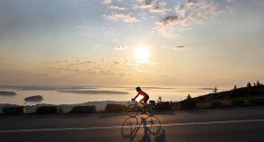 Cyclist road during Maine Acadia National Park Bike Tour