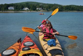 Kayaking during Maine Acadia National Park Bike Tour