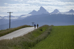 Two cyclist along bike path during Idaho Teton Valley Bike Tour