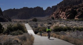 Cyclists on the bike path from St. George, Utah