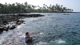 Swimming in the ocean Hawaii Bike Tour