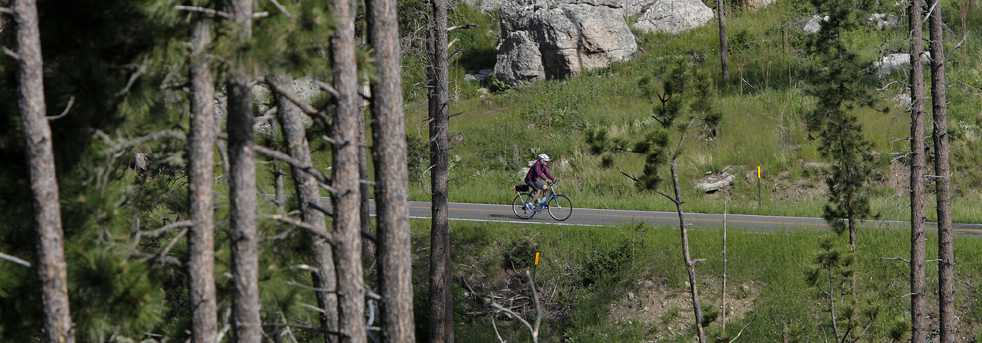 Kathy on the Needles Highway, South Dakota bike tour