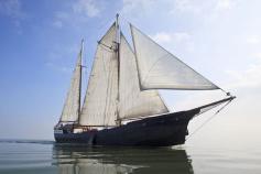 Two-masted Wapen fan Fryslan sailboat in the Netherlands