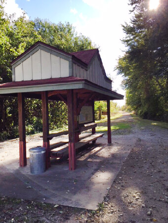 Gazebo on trail during Katy Trail Bike Tour