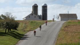Cyclist on bike path during Pennsylvania Dutch Country Bike Tour