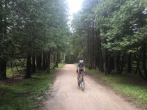 Cyclist on path Wisconsin Door County Bike Tour