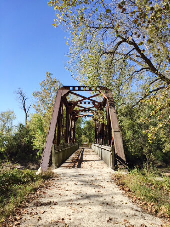 Trail and bridge view Katy Trail Bike Tour