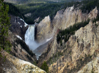 Waterfall view Yellowstone and Grand Teton National Parks Bike Tour