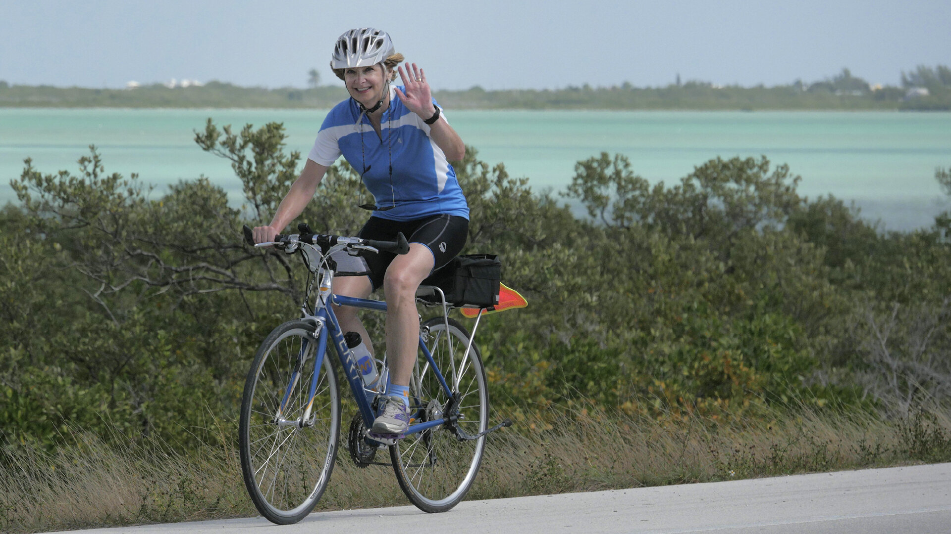 Bicyclist waves on bike ride to Florida Keys