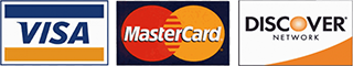 We accept only Visa, MasterCard and Discover