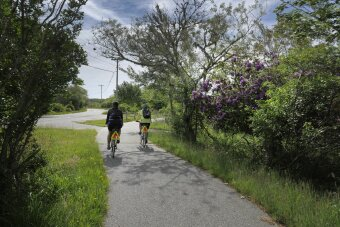 Bike path with two cyclists Massachusetts Island Hopper Bike Tour