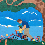 drawing of teaching a kid how to ride a bike R Community Bikes