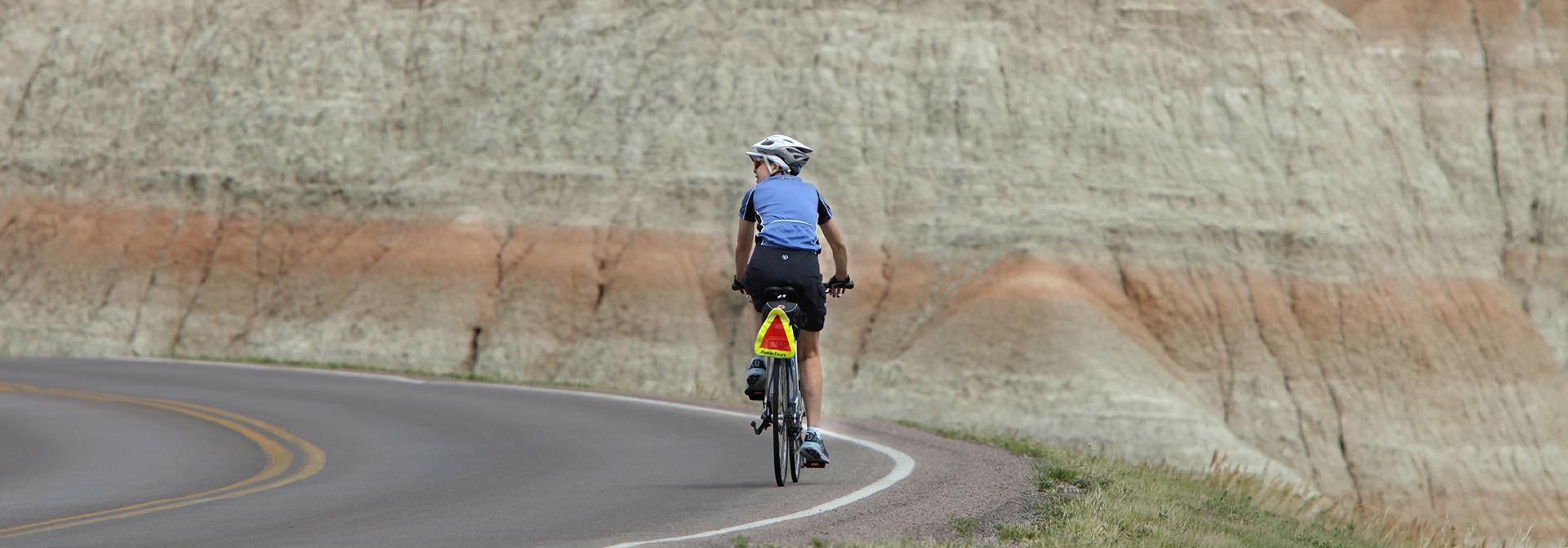 Susan on the South Dakota bike tour