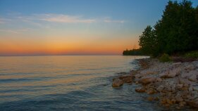 Sunset over Lake Michigan during our Wisconsin Door County bike tour.