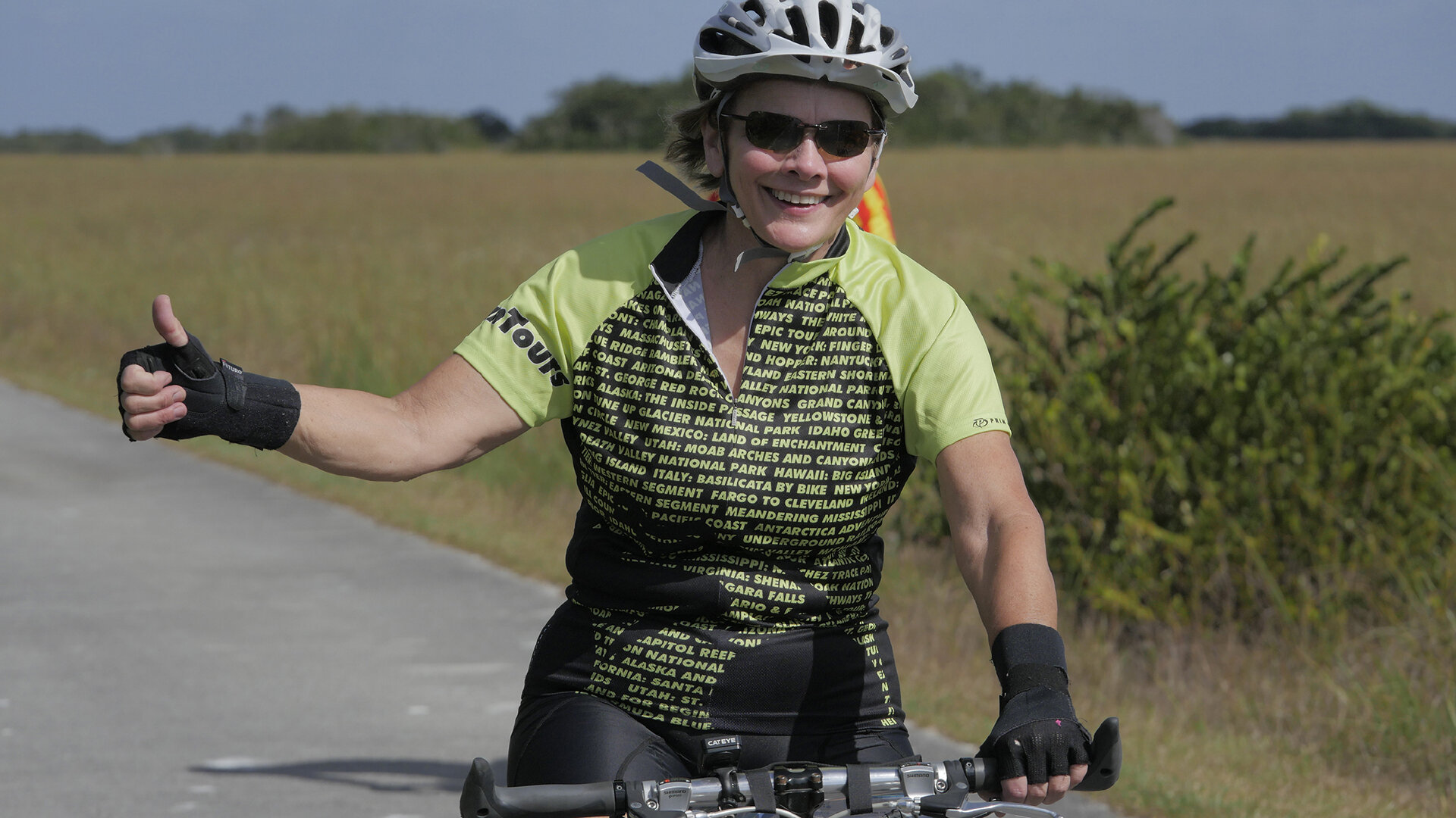 Happy cyclist on the bike path to the Florida Keys