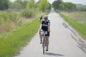 Cyclist posing for the camera Minnesota Lake Wobegon Trail Bike Tour
