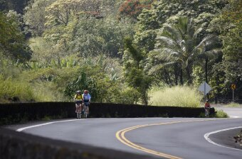 Cyclist on the road Hawaii Bike Tour