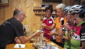 Cheese tasting during Finger Lakes Bike Tour