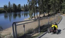 Cyclist along bike path Idaho Greenways Bike Tour