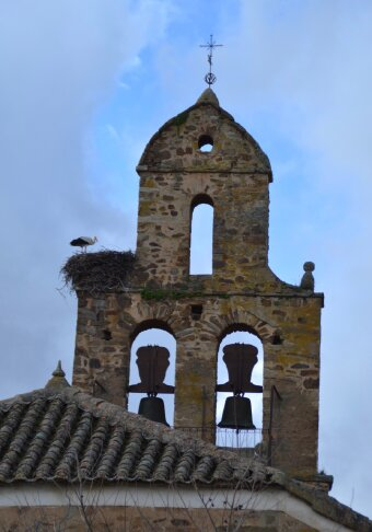 Church steeple with stork's nest on the Camino de Santiago in Spain.