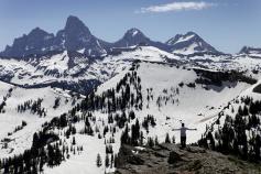 Snowy mountains during Idaho Teton Valley Bike Tour