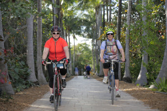Two Cyclist on the bike path Florida Everglades and the Keys Bike Tour