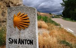 rock and a shell sign Spain Camino de Santiago bike tour