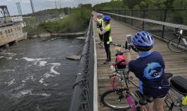 Bridge river view Minnesota Lake Wobegon Trail Bike Tour