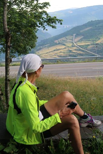 Cyclist enjoying the view Spain Camino de Santiago bike tour