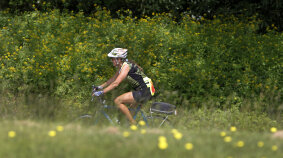 Rider in a Meadow Blue Ridge Bike Tour