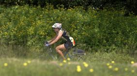 Rider in a Meadow Blue Ridge Bike Tour