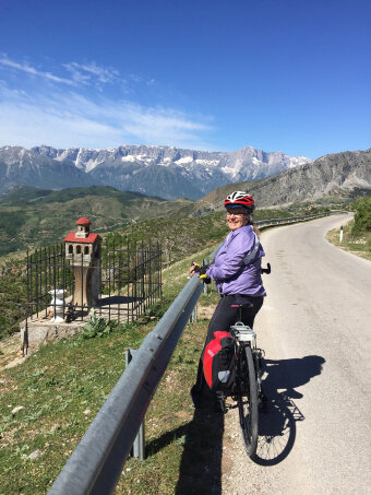 Cyclist and Bird House Albania Bike Tour