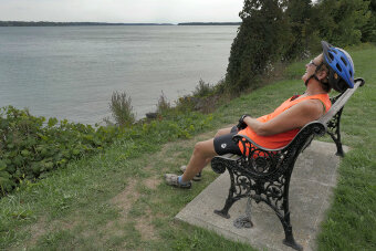 Enjoying the view on a bench Niagara Falls Pathways